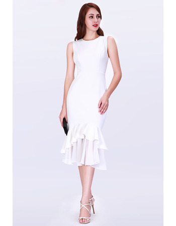 Fashionable Mermaid Tea Length Satin Cocktail/ Holiday/ Party Dresses for women with Ruffled Hi-low hem