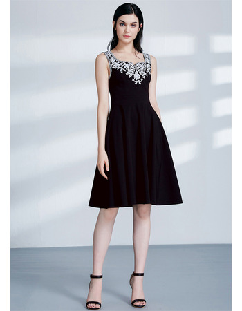Attractive A-Line Beaded Appliques Square Neckline Short Satin Cocktail/ Holiday/ Party Dresses for women