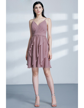 Classy Slender Straps Short Chiffon Cocktail/ Holiday Dress for women with Ruffle Detail
