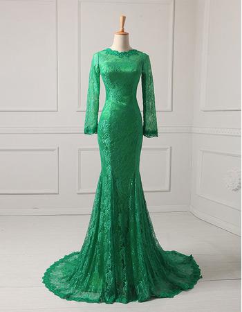 Elegant Simple Long Sleeves Mermaid Full Length Lace Evening Dresses with Godet Hem