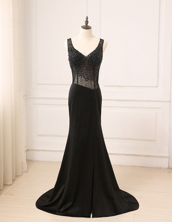 Shimmering Glamorous Beading V-Neck Full Length Evening Dresses with Dramatic Illusion Back