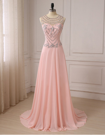 Shimmering Gorgeous Crystal Beading Full Length Chiffon Evening/ Prom/ Formal Dresses with Dramatic Illusion Back