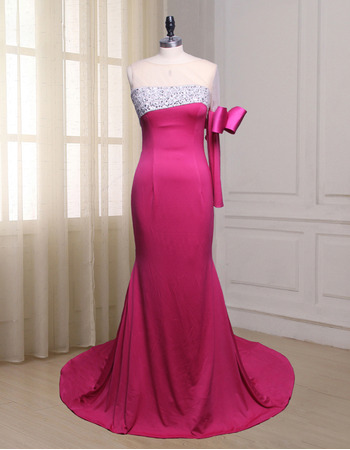 Fashionable Beading Illusion Tulle Neckline Asymmetric Full Length Evening Dress with One Sleeve