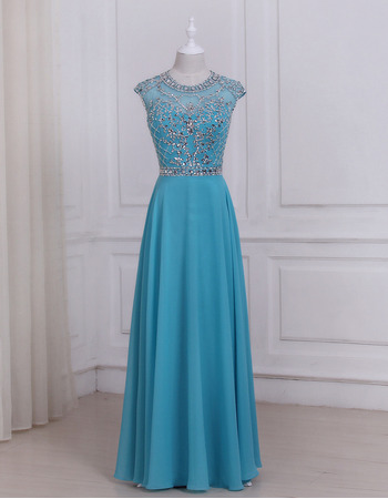 Gorgeous Crystal Beading Full Length Chiffon Evening/ Prom/ Formal Dresses With Daring Open Back