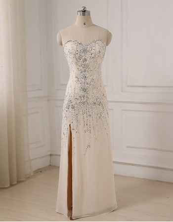 Gorgeous Crystal Beading Sweetheart Full Length Chiffon Evening/ Prom/ Formal Dress with Side Slit