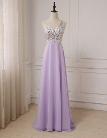 Gorgeous Crystal Beading One Shoulder Full Length Chiffon Evening/ Prom Dresses With Sexy Exposed Back