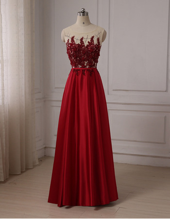 Luxury Beaded Appliques A-Line Full Length Satin Evening/ Prom Dresses with Illusion Back
