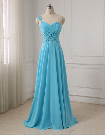 Affordable Rhinestone One Shoulder Full Length Chiffon Blue Evening/ Prom Dresses with Ruched Bodice