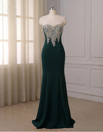 Attractive Sheer Neckline Mermaid Full Length Satin Evening/ Prom/ Formal Dresses with Appliques Bodice