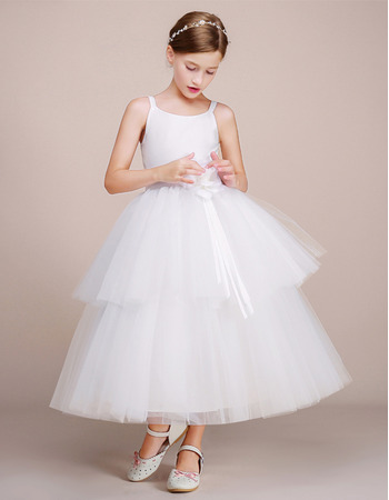 Beautiful Simple Ball Gown Tea Length Two Layered Flower Girl Dresses With Handmade Flowers