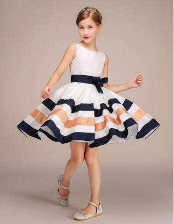 Discount Knee Length Color Block Flower Girl Dresses with Belts