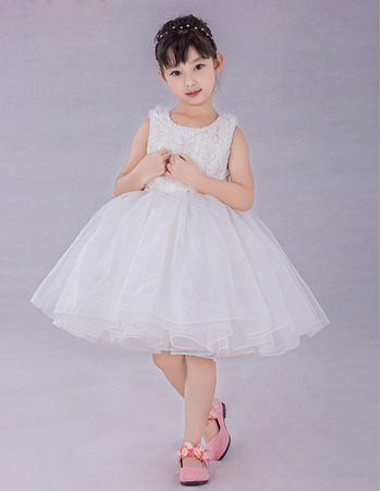Pretty Ball Gown Knee Length Organza Flower Girl Dresses with Lace Bodice