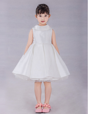 Unique Simple A-Line Lapel Knee Length Satin Flower Girl Dresses