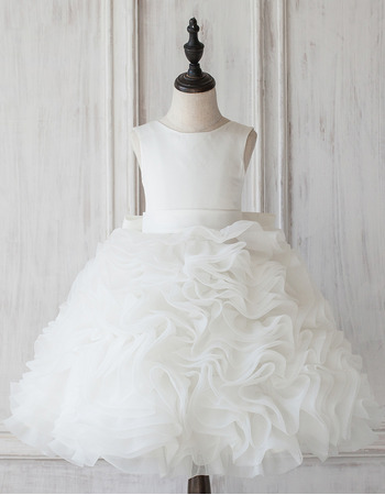 Amazing Ball Gown V-back Knee Length Ruffled Tiered Skirt Flower Girl Dresses