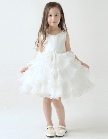 Pretty A-Line Knee Length Short Tiered Skirt Organza Flower Girl Dresses