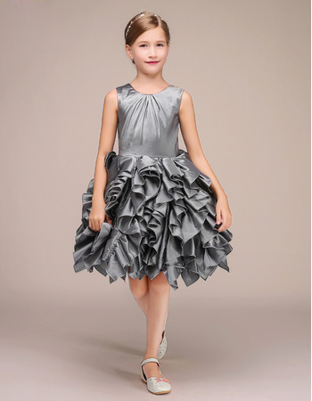 Amazing Short Taffeta Flower Girl Dresses with Ruffles Galore