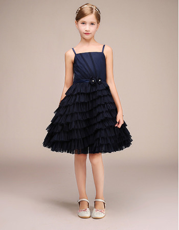 Pretty Spaghetti Straps Flower Girl Dress with Asymmetrical Ruched Tiered Skirt