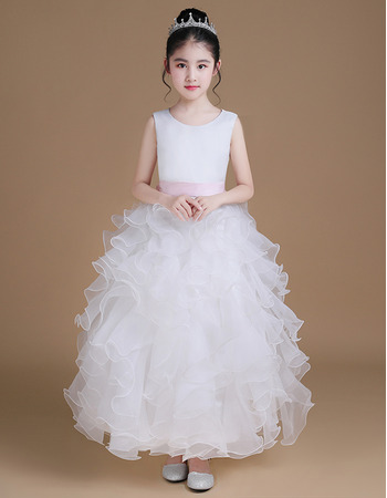 Adorable Ankle Length Ruffle Skirt Flower Girl Dresses with Sashes