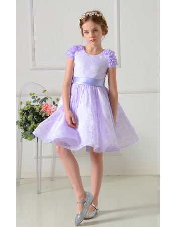 Adorable Short Lace Flower Girl Dresses with Ruffles Cap sleeves
