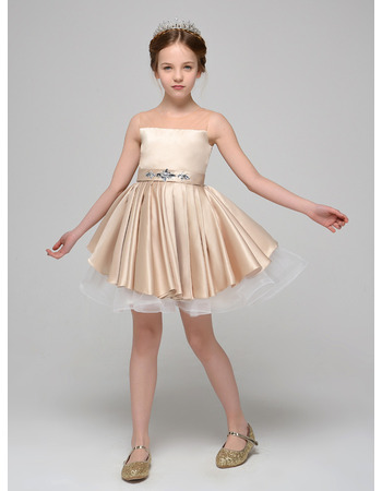 Lovely Illusion Neckline Short Flower Girl Dresses with Two Layered Skirt