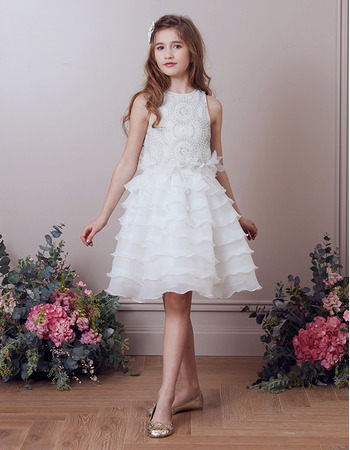 Pretty Knee Length Tiered Skirt Organza Little Girl Parry Dresses with Beaded Bodice
