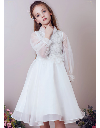 Lovely Pouf Neckline Knee Length Organza Flower Girl Dresses with Long Sleeves