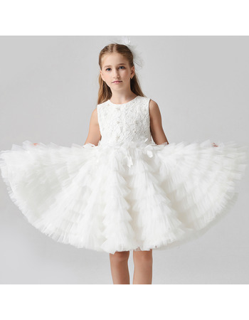 Beautiful Knee Length Ruched Tiered Skirt Flower Girl Dresses