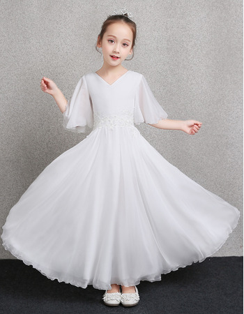 Adorable V-Neck Chiffon Flower Girl Dress with Flutter Sleeve Dress