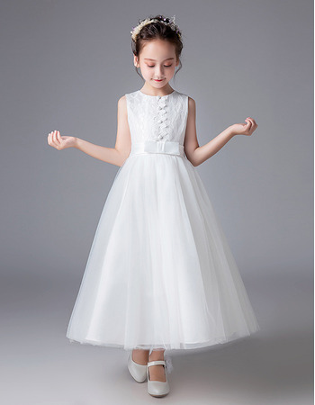 Simple Pretty A-Line Ankle Length White Lace Tulle Flower Girl/ First Communion Dresses