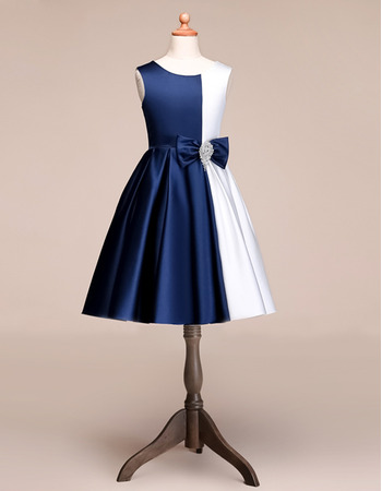 Simple Unique A-Line Knee Length Satin Color Block Flower Girl Dresses with Bow