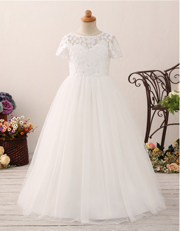 Lovely A-Line Bateau Neck Lace Bodice Flower Girl/ First Communion Dresses with Short Sleeves