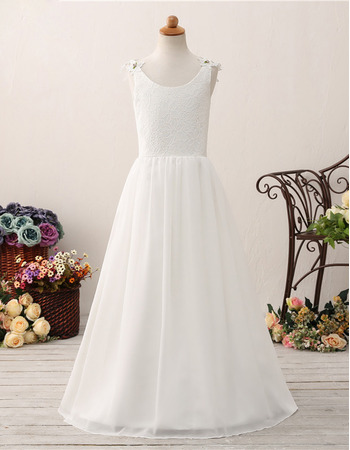 Beautiful Simple Scoop Neckline Lace Bodice Flower Girl Dresses