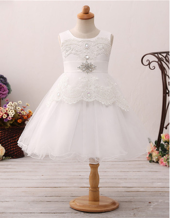 Pretty A-Line Sleeveless Knee Length Organza Flower Girl Dresses with Rhinestone Lace Appliques