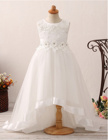 Romantic Appliques Crystal Asymmetrical Hem Flower Girl Dresses for Wedding with Flower Waistband