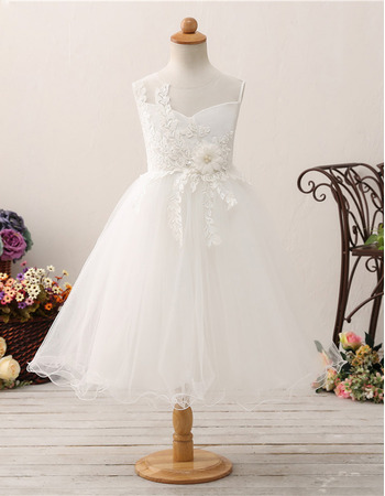 Cute A-Line Tea Length Applique Tulle Flower Girl Dresses with wire edge