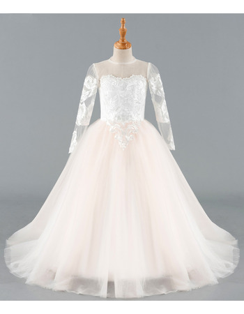 Custom Ball Gown Full Length Appliques Tulle Flower Girl Dresses with Long Illusion Sleeves
