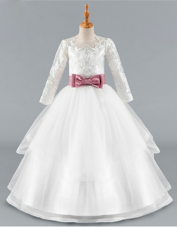 Pretty Ball Gown Long Sleeves Lace Appliques Flower Girl/ Communion Dress with Belt