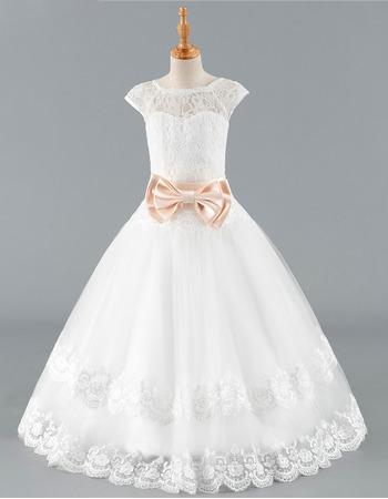 Pretty V-back Full Length Lace Tulle Flower Girl Dresses with Cap Sleeves