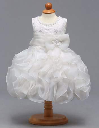 Cute Short Lace Organza Flower Girl Dresses for Wedding with Ruffles Galore