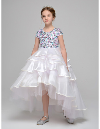 Gorgeous Beaded High-Low Asymmetric Short Sleeves Little Girls Party Dresses with Sequined Bodice
