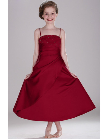 Concise Spaghetti Straps Tea Length Satin Flower Girl/ Junior Bridesmaid Dress with Asymmetrical Pleated