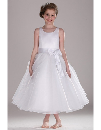 Pretty Ball Gown Tea Length Satin Organza Flower Girl Dress with Bow/ Custom First Communion Plus Size Dresses