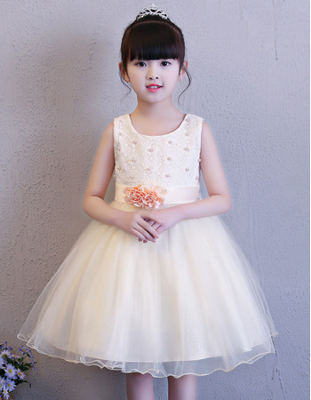 Cute Beaded Ball Gown Mini/ Short Flower Girl Dresses for Wedding with Hand-made Flowers