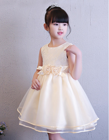 Cute Ball Gown Mini/ Short Organza Flower Girl Dresses for Wedding with Hand-made Flowers