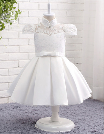 Adorable Ball Gown Cap Sleeves Knee Length Flower Girl Dresses with Satin-trimmed Neckline and Armholes