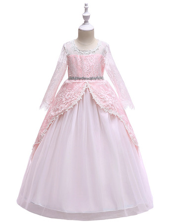 Famous Long Sleeves Little Girls Party Dresses with Layered Draped High-Low Skirt/ Custom First Communion Dresses
