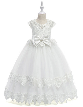Famous Ball Gown Full Length Lace Tulle First Communion Dresses with Slight Cap Sleeves
