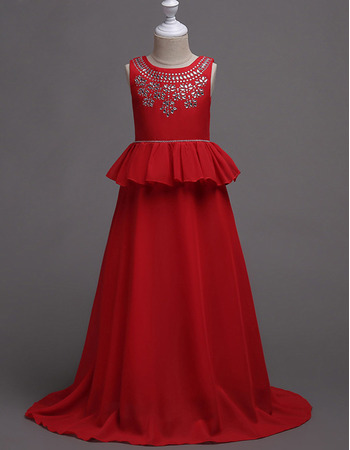 Discount Full Length Chiffon Little Girls Party Dresses/ Junior Bridesmaid Dresses with Peplum