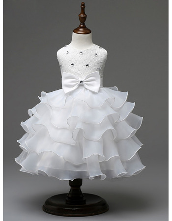 Charming Tea Length Ruffle Tiered Skirt Organza Flower Girl Communion Dress with Crystal Detailing