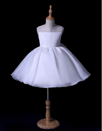 Simple Cute Beaded Neck Ball Gown Short Organza Flower Girl Dresses for Wedding